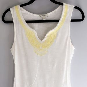 White Tank Top w/ Yellow Embroider